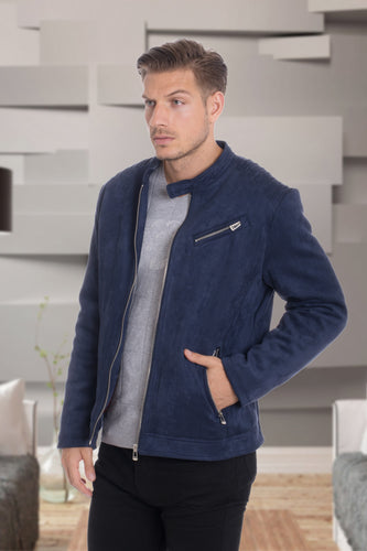 De-Niko Navy Ultra Sued Zip Up Fashion Jacket Style: SJ-501