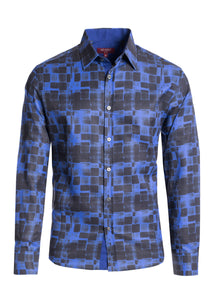 Modern Fit Graphic Tile Pattern Dress Shirt STYLE #2111