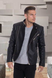 De-Niko Black Faux Leather Zip Up Accent Motorcycle Jacket STYLE:MP-1828