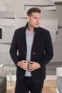 De-Niko BLACK  Button Up Wool Long Coat Jacket STYLE: MW-6287