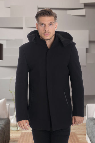 De-Niko Black  Knee Length Zip Up Wool Coat Jacket STYLE: MW-937
