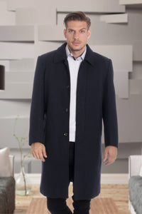 De-Niko Gray Knee Length Zip Up Wool Coat Jacket STYLE: MWTR-130