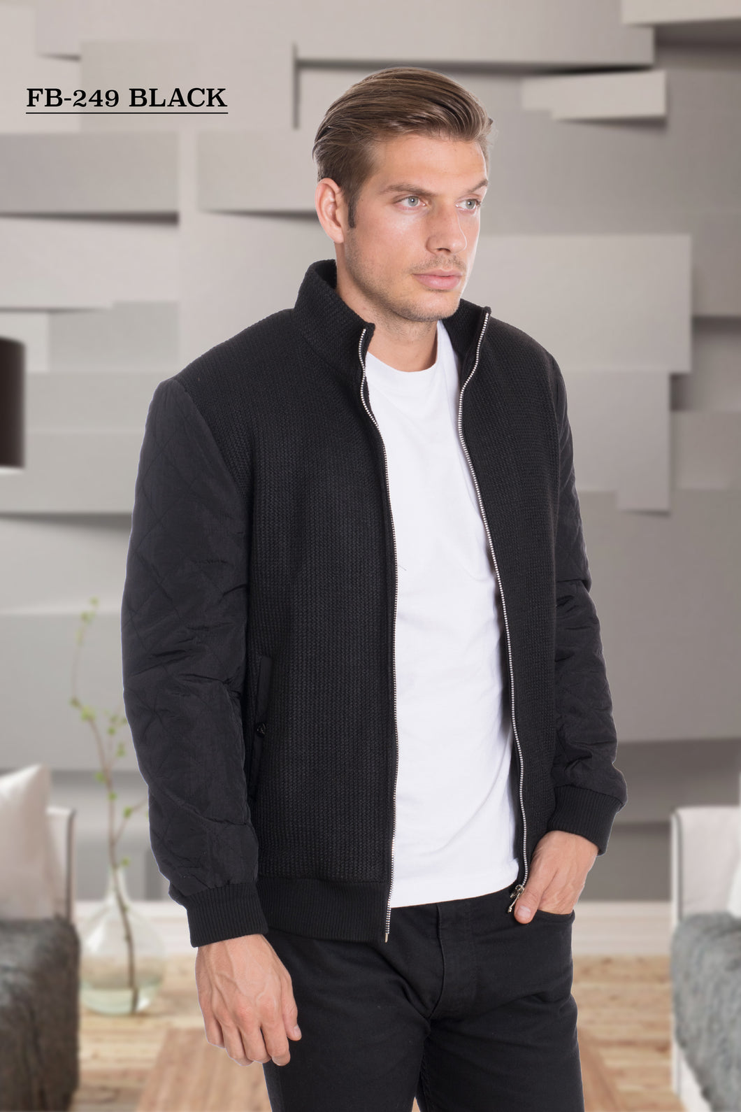 De-Niko Brown Zip Up Fashion Bomber Jacket STYLE# FB-249