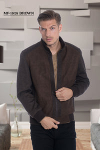 De-Niko Brown Zip Up Pattern Wool Fashion Bomber Jacket STYLE: MF-1828