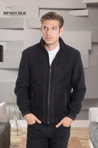 De-Niko BLACK  Zip Up Fashion Bomber Jacket STYLE#MF-1855