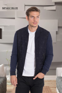 De-Niko Blue Zip Up Square Pattern Fashion Bomber Jacket STYLE: MF-1857