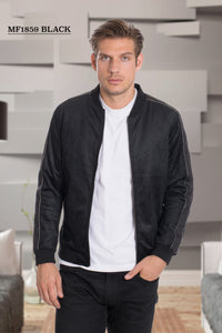 De-Niko Black Zip Up Square Pattern Fashion Bomber Jacket STYLE: MF-1859