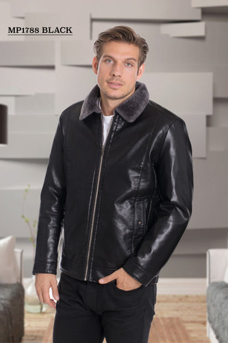 De-Niko Black Faux Leather Zip Up Jacket Style: MP-1788