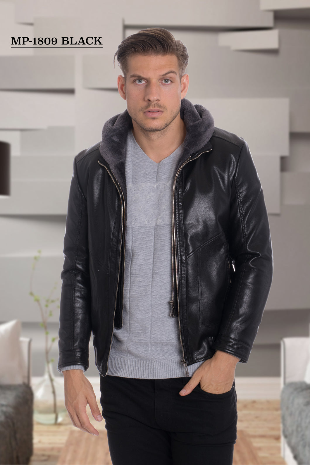 De-Niko Black Double Zip Up Faux Leather Fashion Jacket With Hoodie STYLE: MP-1809
