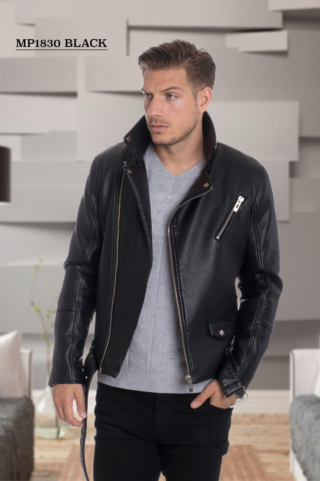 De-Niko Black Faux Leather Zip Up Accent Motorcycle Jacket STYLE:MP-1830