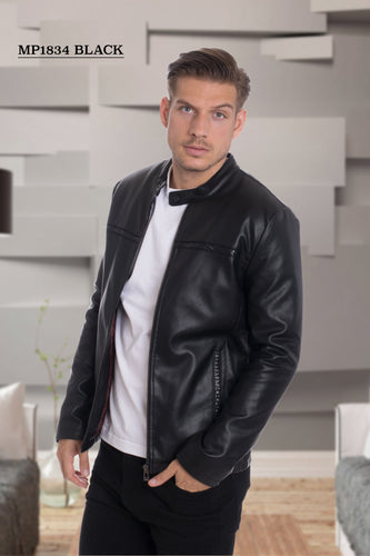 De-Niko Black Faux Leather Zip Up with a line design in the front Fashion Jacket Style: MP-1834