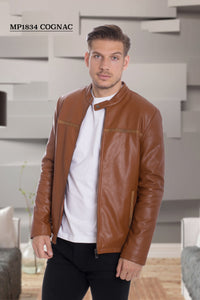 De-Niko Cognac Faux Leather Zip Up with a line design in the front Fashion Jacket Style: MP-1834