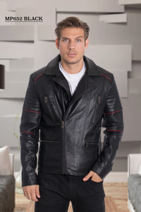 De-Niko Black Faux Leather Zip Up Stripped on the sleeves Accent Motorcycle Jacket style:MP-652