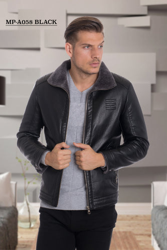 De-Niko Black Faux Leather Zip Up Bomber Jacket Style: MP-A058