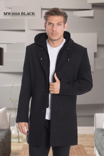 De-Niko Black Knee Length Zip Up Wool Coat Jacket STYLE: MW-2018
