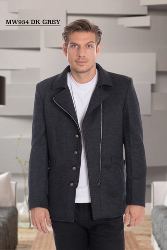 De Niko Long Grey Unique Zip Up Wool Coat Jacket STYLE #MW-934