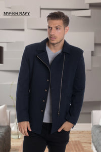 De Niko Long Navy Unique Zip Up Wool Coat Jacket STYLE #MW-934