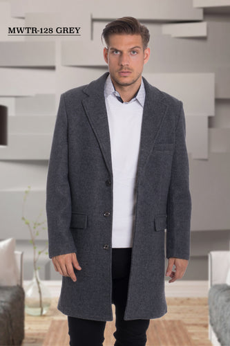De-Niko Gray Knee Length Zip Up Wool Coat Jacket STYLE: MWTR-128