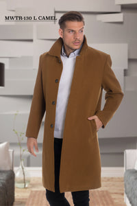 De-Niko Camel Knee Length Zip Up Wool Coat Jacket STYLE: MWTR-130L