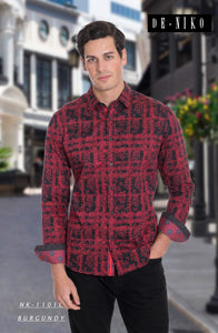 Men's Shirt NK1101L Burgendy