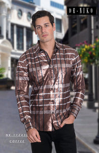 Men's shirt NK11243L COFFEE