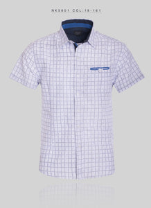 Short Sleeve Micro Patterned Collared Shirt With Single Side Pocket NK5801 Style#18-161