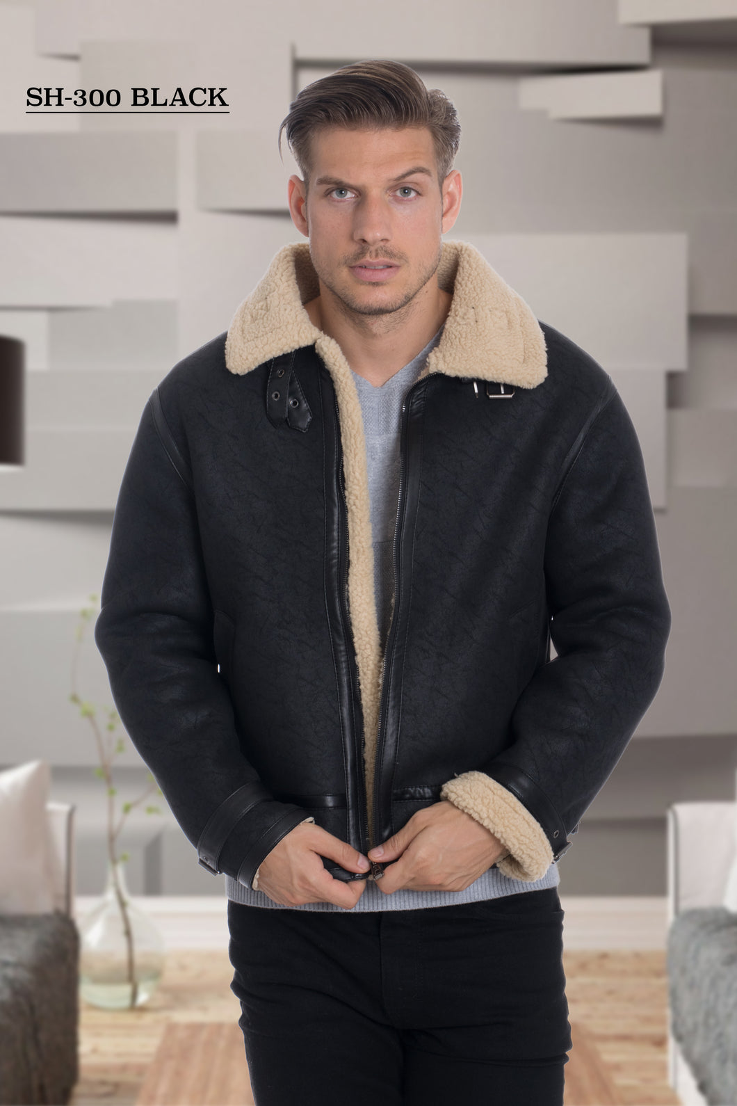 De-Niko Black Ultra Faux Shearling Zip Up Jacket Style: SH-300