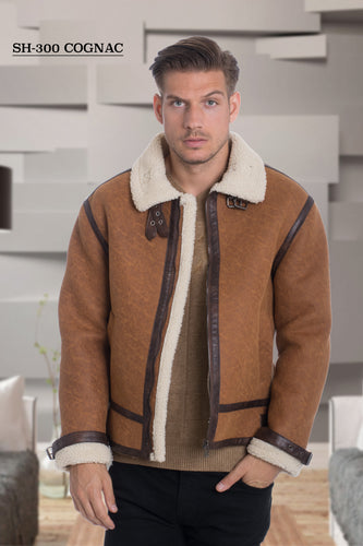 De-Niko Camel Ultra Faux Shearling Zip Up Jacket Style: SH-300