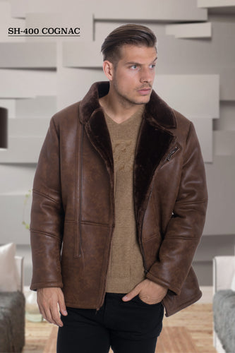 De-Niko Brown Faux Shearling Zip Up Jacket Style: SH-400