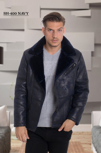 De-Niko Navy Faux Shearling Zip Up Jacket Style: SH-400