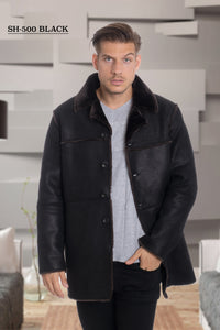 De-Niko Black Faux Shearling Button Malboro Jacket Style: SH-500