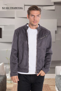 De-Niko GREY Ultra Sued Zip Up Fashion Jacket Style: SJ-501