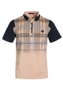 Short Sleeve Taupe & Black Patterned Collared T-Shirt STYLE #TS29