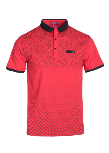 Short Sleeve Red & Black Patterned Collared T-Shirt STYLE #TS50