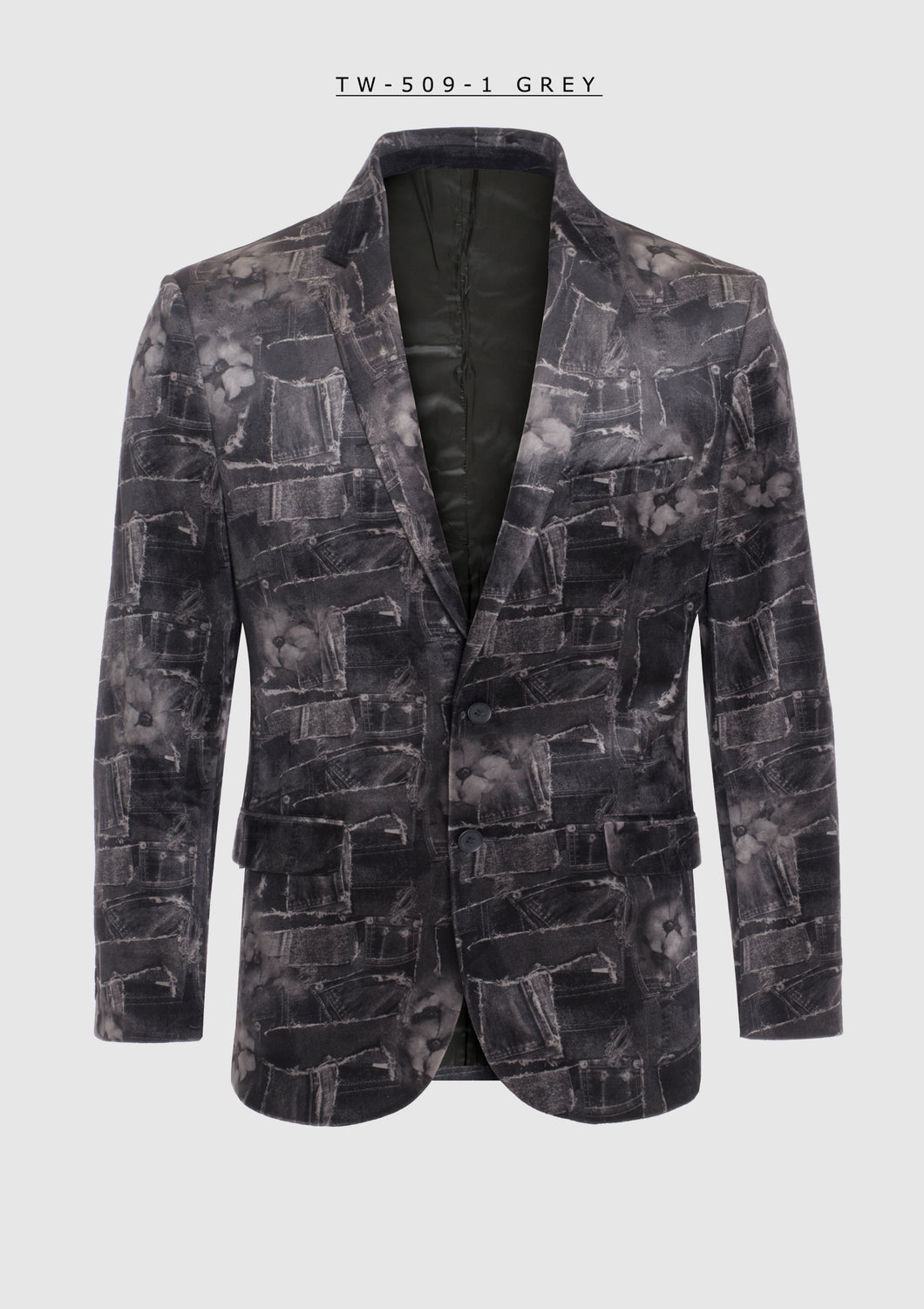 De-Niko Velvet Black And Grey Blazer Style: TW-509-1 WHOLESALE ONLY