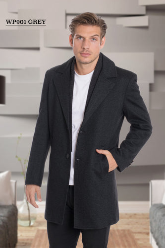De-Niko Gray Knee Length Zip Up Wool Coat Jacket STYLE: WP-901