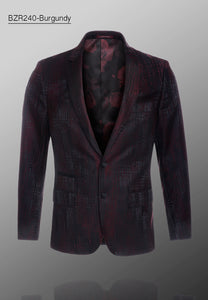 De-Niko Burgundy Jacquard Blazer WHOLESALE ONLY