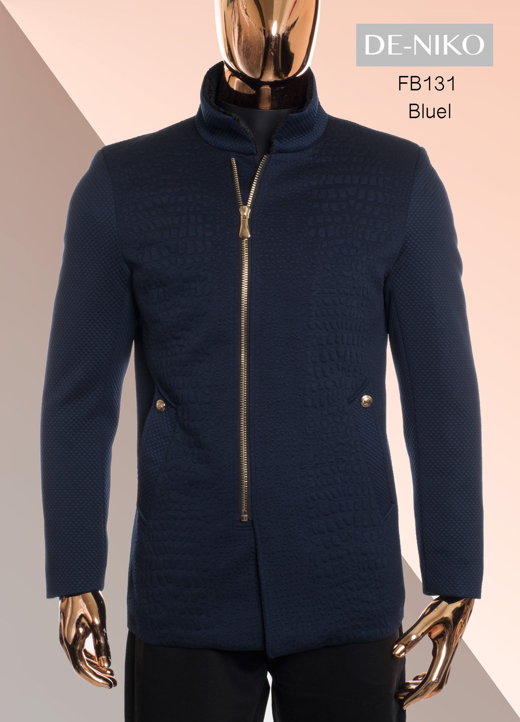 De-Niko Navy Blue Zip Up Textured Wool Dressy Jacket