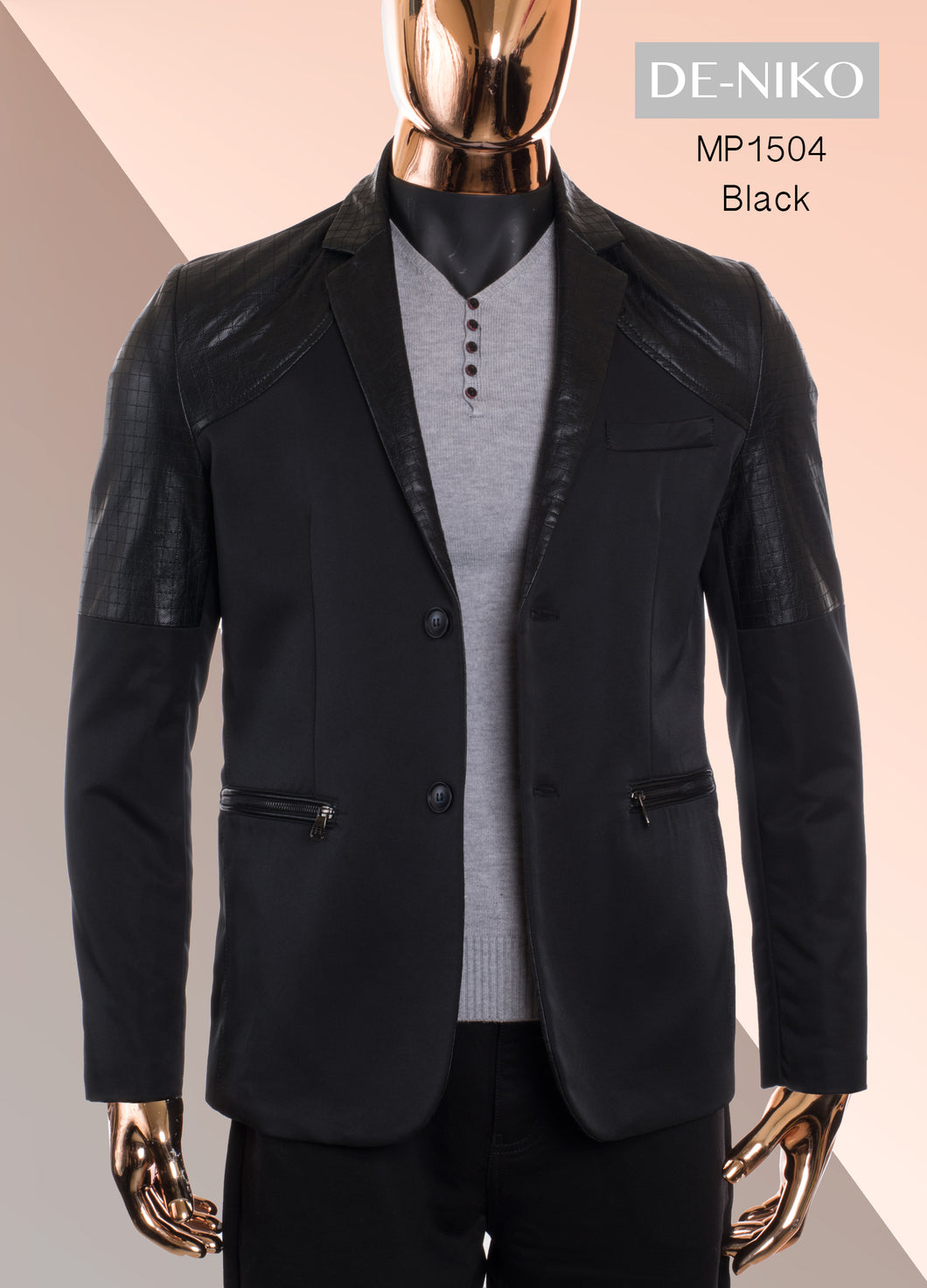 De-Niko Black Button Up Sports Coat Jacket With Black Faux Leather Accents