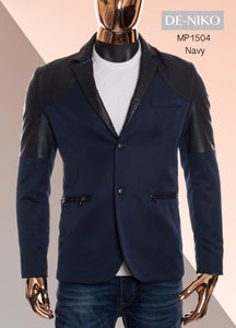 De-Niko Navy Button Up Sports Coat Jacket With Black Faux Leather Accents