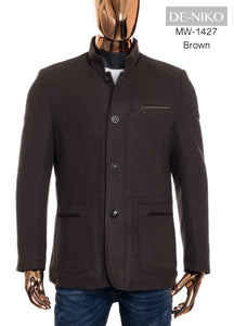 De-Niko Brown Button Up Wool Long Coat Jacket