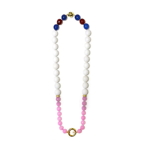 """PROMISE - WHITE AND PINK"" FASHION GEM NECKLACE"