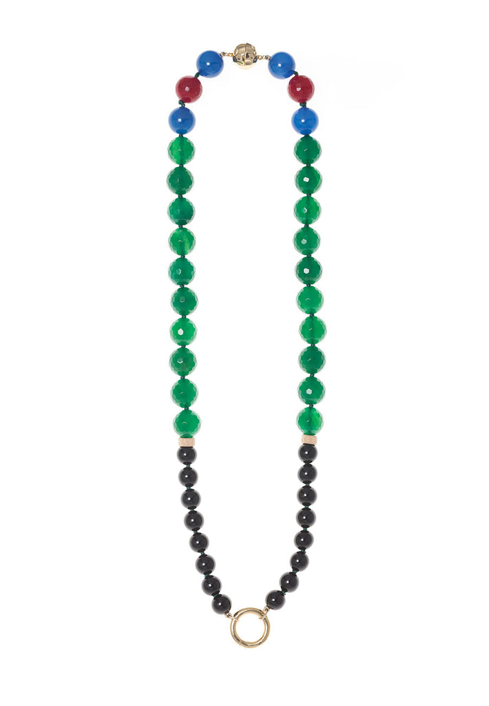 """PROMISE - GREEN AND BLACK"" FASHION GEM NECKLACE"