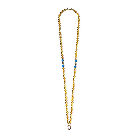 """GIFT 55 - CITRINE"" FASHION SPIRITUAL YELLOW GOLD 18K AND 14K GEM NECKLACE"