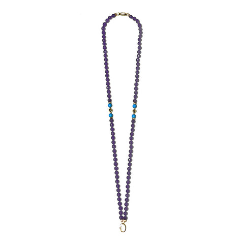 """GIFT 55 - AMETHYST"" SPIRITUAL GOLDEN GEM NECKLACE"