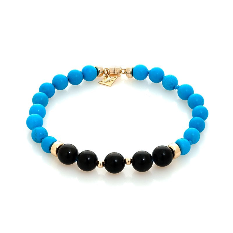 """THE TOUCH - BLACK ON BLUE"" FANCY YELLOW GOLD AND GEM BRACELET"
