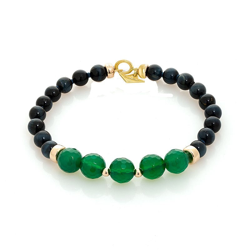 """THE TOUCH -GREEN ON EYE"" FANCY GOLD AND GEM BRACELET"