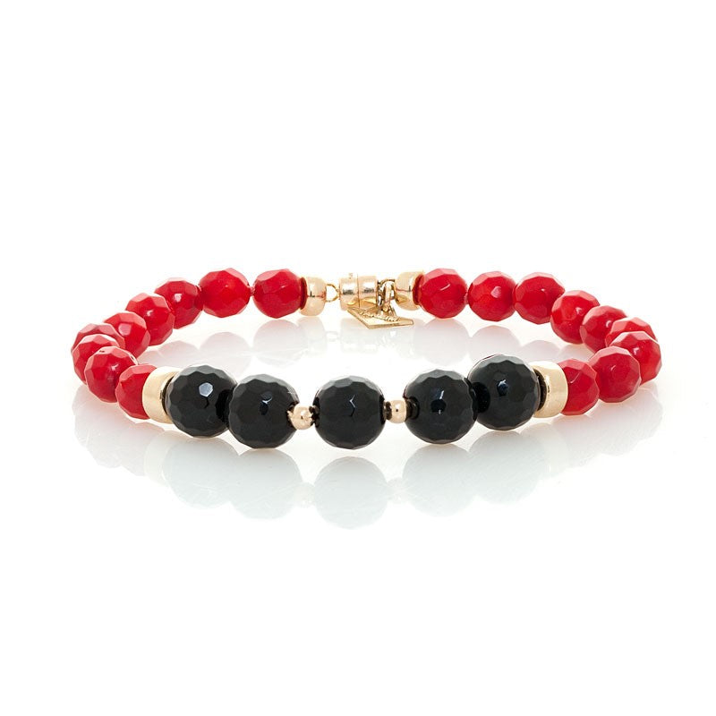 """THE TOUCH - BLACK ON RED"" SPIRITUAL FANCY YELLOW GOLD AND GEM BRACELET"