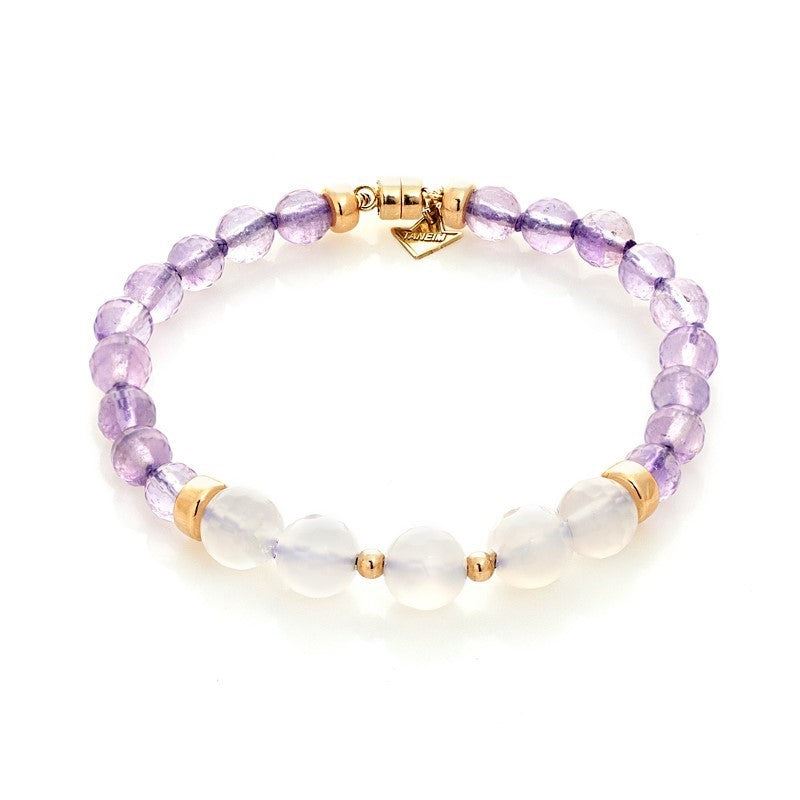"""THE TOUCH - WHITE ON LAVENDER"" FANCY GOLD AND GEM BRACELET"
