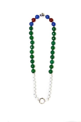 """PROMISE - GREEN AND WHITE"" SPIRITUAL FASHION GEM NECKLACE"